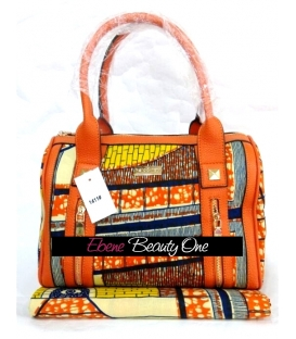 Sac cabas en wax africain orange