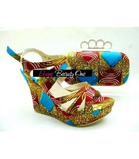 Clucht et Chaussure en wax Africain